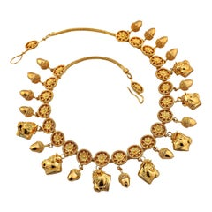 Zolotas Vintage Gold Bull and Acorn Necklace