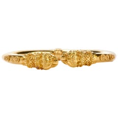 Zolotas Vintage Greek 22 Karat Torque Cuff Bangle Bracelet