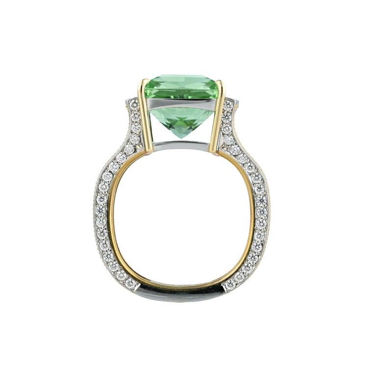 Princess Cut Zoltan David Teal Tourmaline Modern Ring in Platinum and 24 Karat Gold For Sale