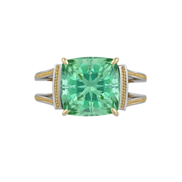 Zoltan David Teal Tourmaline Modern Ring in Platinum and 24 Karat Gold In New Condition For Sale In Austin, TX