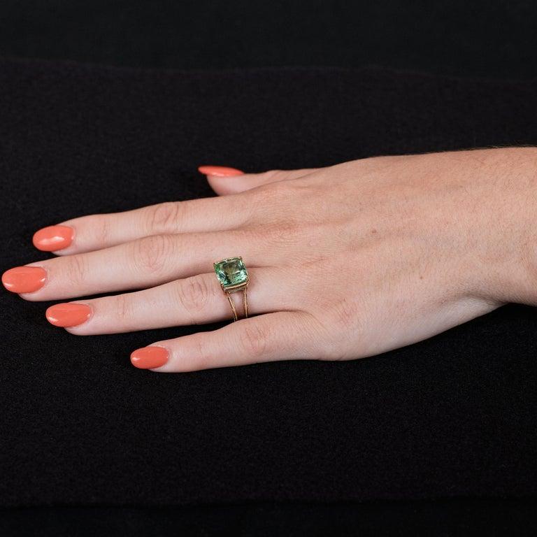 Zoltan David Teal Tourmaline Modern Ring in Platinum and 24 Karat Gold For Sale 1
