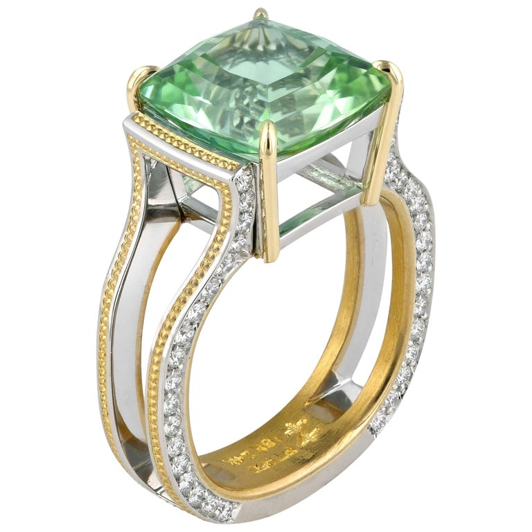 Zoltan David Teal Tourmaline Modern Ring in Platinum and 24 Karat Gold For Sale