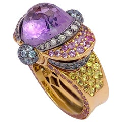 Zorab 18 Karat Gold, 12.86 Carat Amethyst, Diamonds and Pastel Sapphire Ring