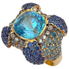 Zorab 18 Karat Rose Gold Ring with Blue Topaz, Diamonds, Sapphires and Zircons