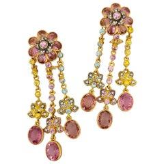 Zorab 18KT Rose Gold Pink & Yellow Sapphire, Diamond & Zircon Hanging Earrings
