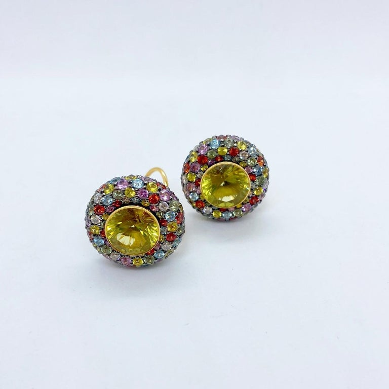 Contemporary Zorab 18 KT Yellow Gold Earrings with Scapolite Centers & Multicolored Sapphires For Sale
