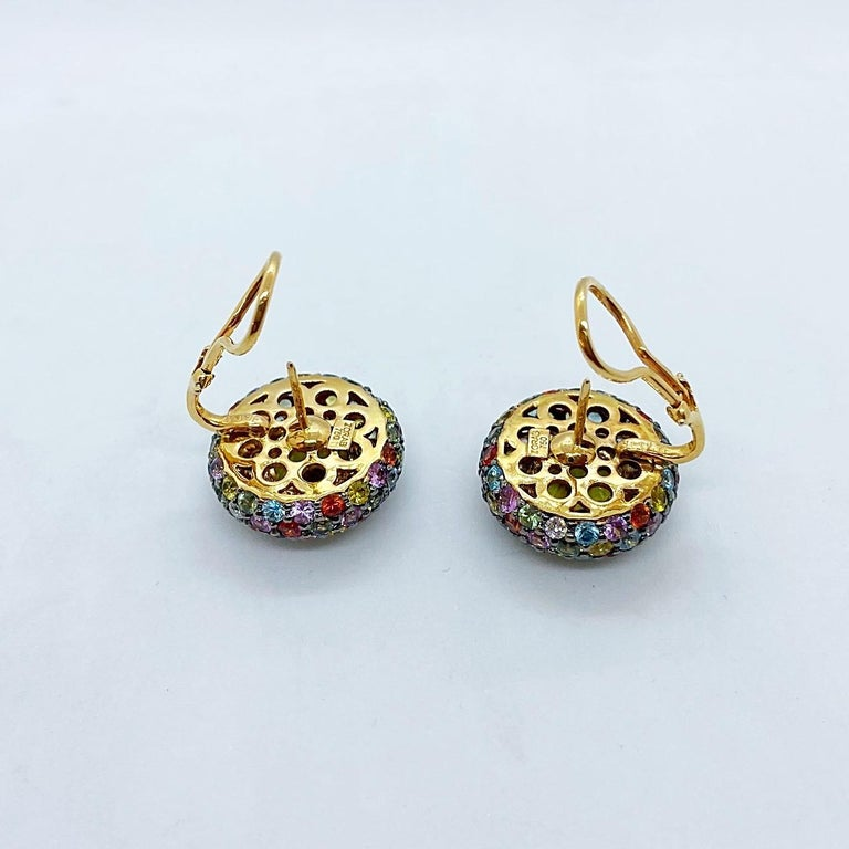 Round Cut Zorab 18 KT Yellow Gold Earrings with Scapolite Centers & Multicolored Sapphires For Sale