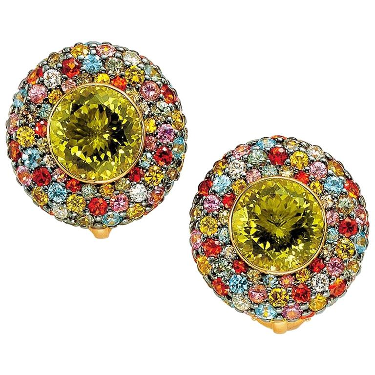 Zorab 18 KT Yellow Gold Earrings with Scapolite Centers & Multicolored Sapphires For Sale