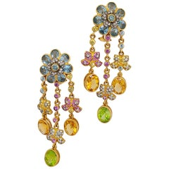 Zorab 18 Karat Gold, Pink and Yellow Sapphire, Diamond, Semi-Precious Earrings
