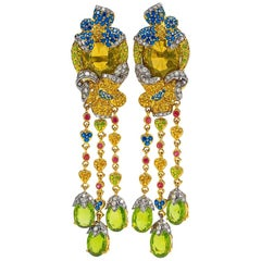 Zorab 18 Karat Yellow Gold Scapolite, Diamond and Multicolored Sapphire Earrings
