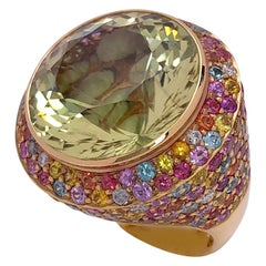 Zorab 18KT YG 28.59 Carat Scapolite Center Stone Ring with Rainbow Sapphires
