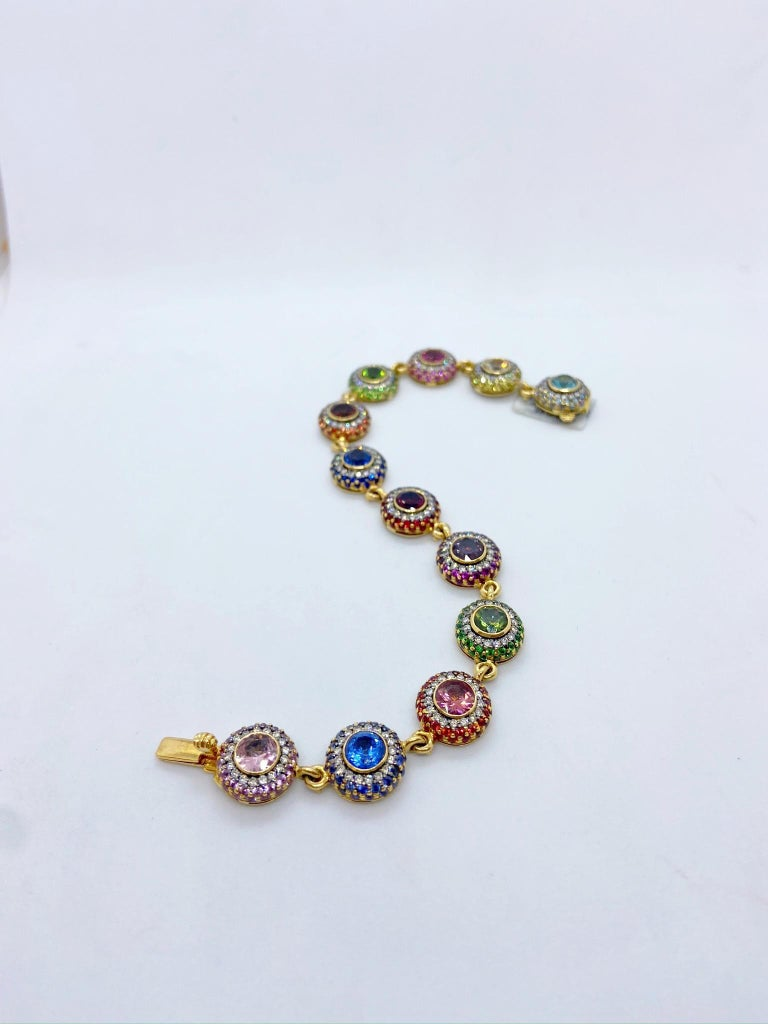 Modern Zorab 18Kt YG Bracelet with Diamonds, Multicolored Sapphires and Semi Precious For Sale