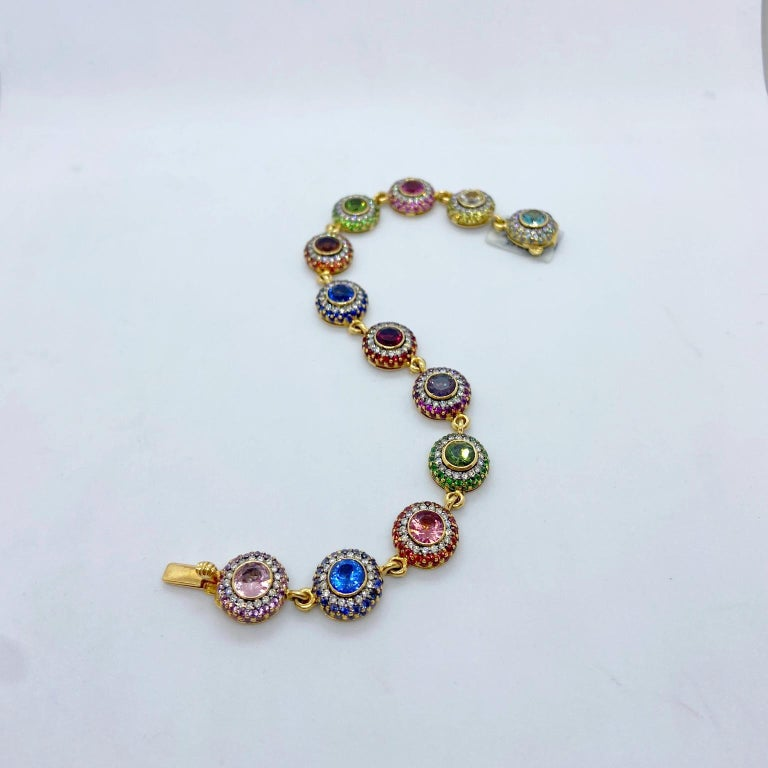 Round Cut Zorab 18Kt YG Bracelet with Diamonds, Multicolored Sapphires and Semi Precious For Sale