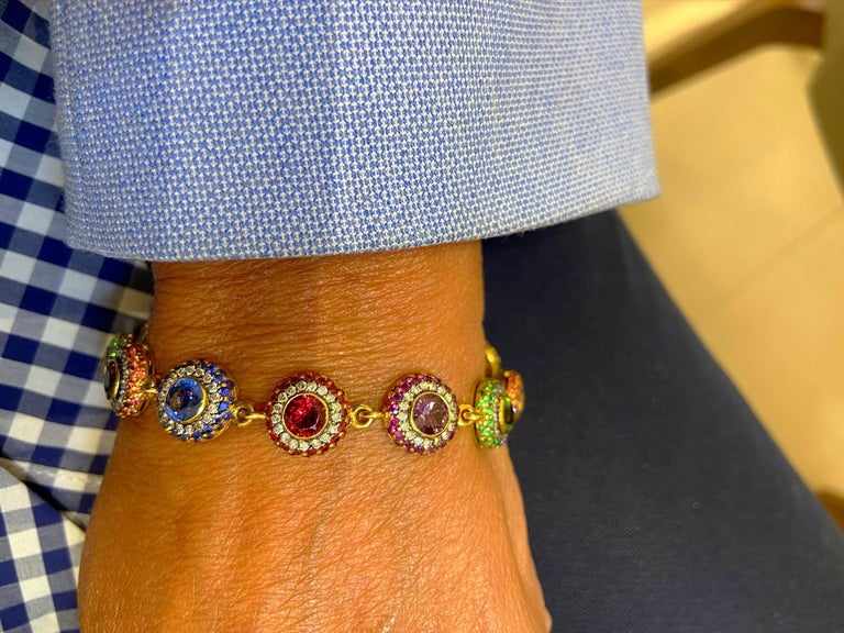 Zorab 18Kt YG Bracelet with Diamonds, Multicolored Sapphires and Semi Precious In New Condition For Sale In New York, NY