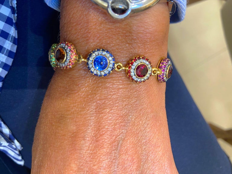 Women's or Men's Zorab 18Kt YG Bracelet with Diamonds, Multicolored Sapphires and Semi Precious For Sale