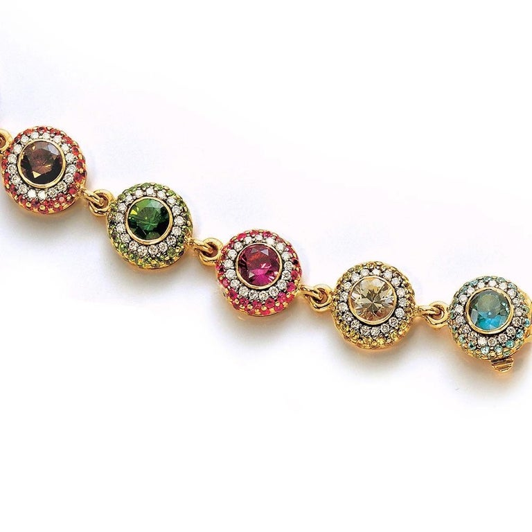 Zorab 18Kt YG Bracelet with Diamonds, Multicolored Sapphires and Semi Precious For Sale 1
