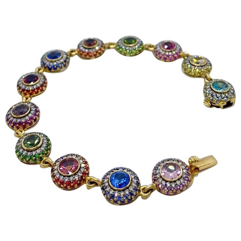 Zorab 18Kt YG Bracelet with Diamonds, Multicolored Sapphires and Semi Precious For Sale