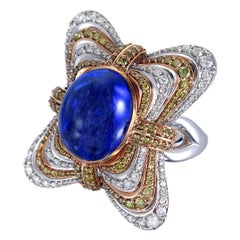 Zorab Creation 12.80 Carat Tanzanite and Diamond Floating Pillow Ring