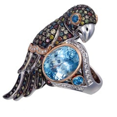 Zorab Creation 13.13 Carat Natural Blue Zircon Bird of Paradise Ring