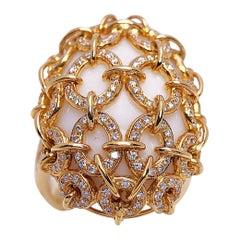 Zorab Creation 18 Karat Yellow Gold, White Opal 39.86 Carat and Diamond Ring