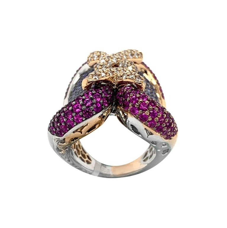 Zorab Creation 18 Karat Palladium Pink and Blue Sapphire Diamond Ring In New Condition For Sale In New York, NY