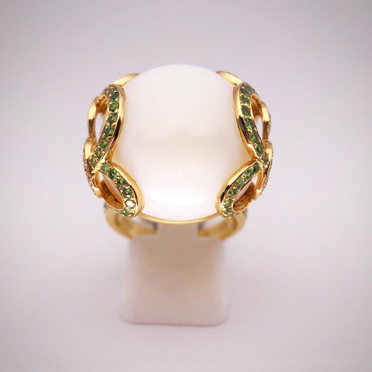 Modern Zorab Creation 18 Karat Gold, 37.89 Carat White Opal, Tsavorite and Diamond Ring For Sale