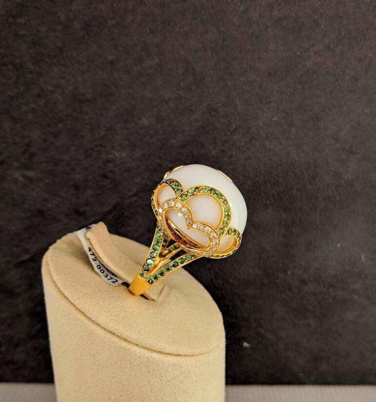 Women's or Men's Zorab Creation 18 Karat Gold, 37.89 Carat White Opal, Tsavorite and Diamond Ring For Sale