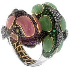 Zorab Creation 33.15 Carat Pink and Green Jade Twin Koi Fish Ring