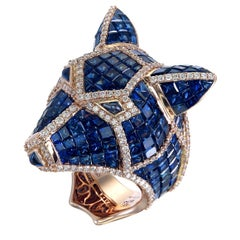 Zorab Creation 39.05 Carat Blue Sapphhire and Diamond Blue Bear Ring