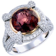 Zorab Creation 4.81 Carat Red Tourmaline and Diamond Sangria Ring