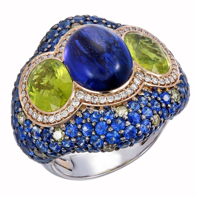 Art Nouveau Zorab Creation 7.73 Carat Tanzanite and Tourmaline the Blue Lake Ring For Sale