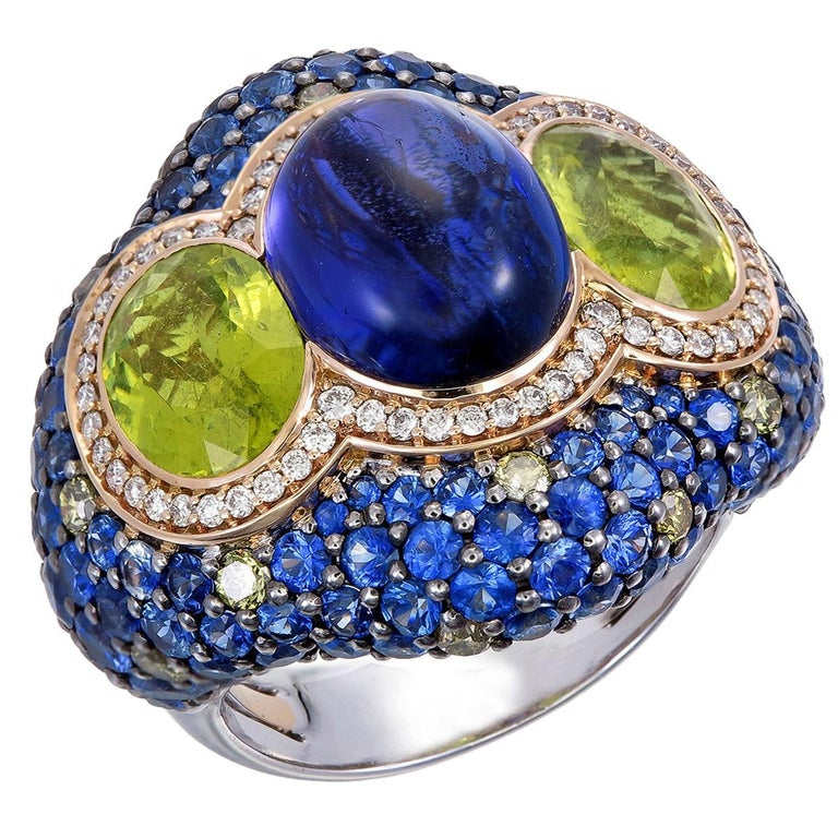 Zorab Creation 7.73 Carat Tanzanite and Tourmaline the Blue Lake Ring For Sale