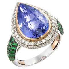 Zorab Creation-A Blue Teardrop 9.75-Tear-Shaped Translucent Tanzanite Ring