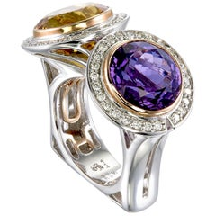 Zorab Creation Amethyst and Citrine Couple Mignone Ring