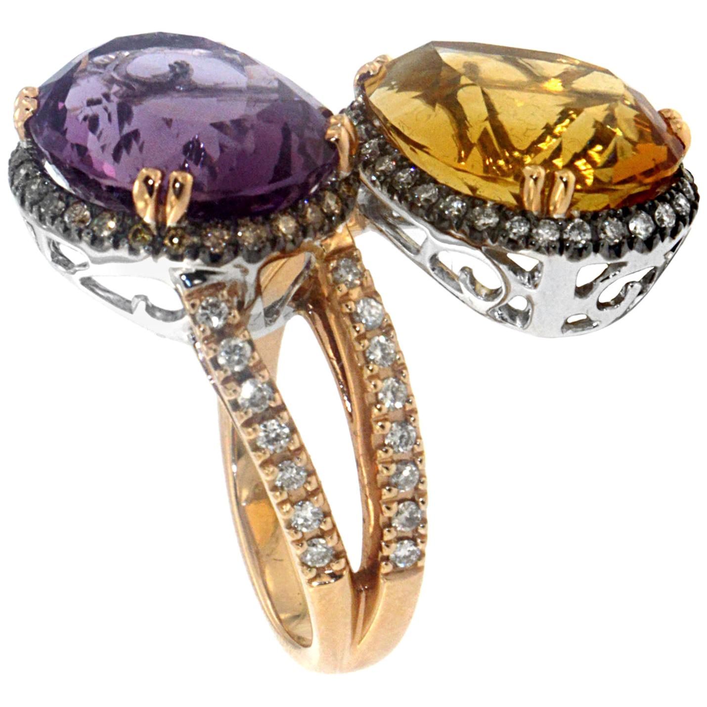 Zorab Creation Amethyst and Citrine Coupling Ring