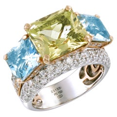 Zorab Creation Aquamarine and Diamond Les Trois Carres Ring