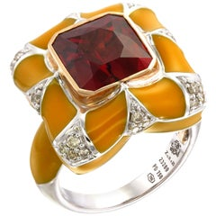 Zorab Creation-Arabian Pillow A 7.80-Carat Spessartite and Diamond Enamel Ring