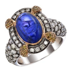 Zorab Creation-Bleu Royal 6.81 Carat Tanzanite and Fancy Diamond Ring