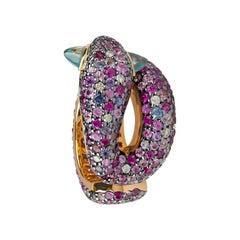 Zorab Creation Blue Zircon, Pink Sapphire and White Diamond Serpent Ring