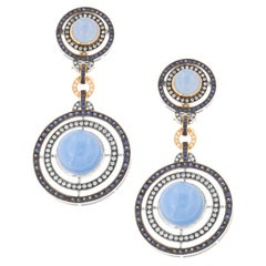 Zorab Creation Cerulean Sapphire and 48.65 Carat Blue Jade Drop Earrings