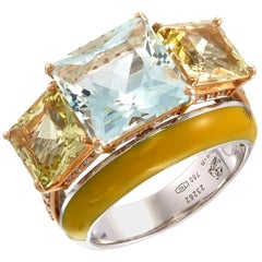 Zorab Creation-Chunky Hunky 5.35-Carat  Aquamarine and Diamond Enamel Ring
