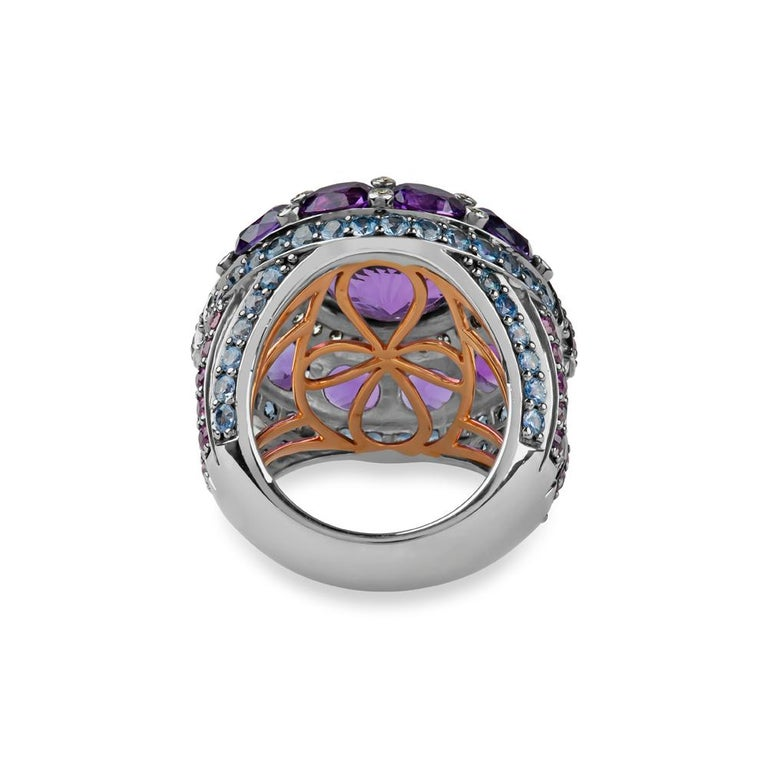 Women's Zorab Creation Empire State Amethyst Pink Sapphire Diamond Blue Sapphire Ring  For Sale