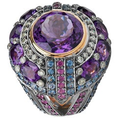 Zorab Creation Empire State Amethyst Pink Sapphire Diamond Blue Sapphire Ring