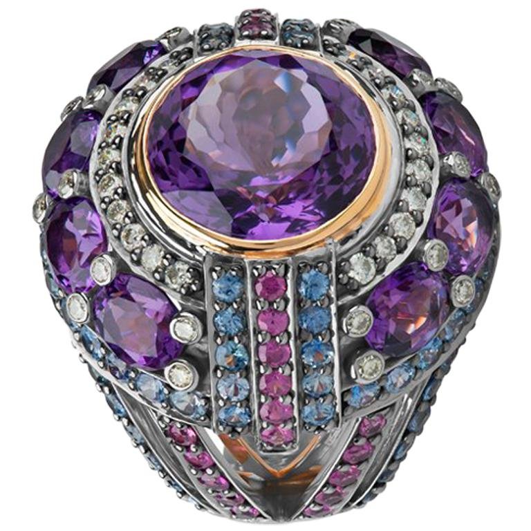 Zorab Creation Empire State Amethyst Pink Sapphire Diamond Blue Sapphire Ring  For Sale