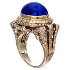 Zorab Creation-Liquid Blue 14.30 Carat Tanzanite and Diamond Ring