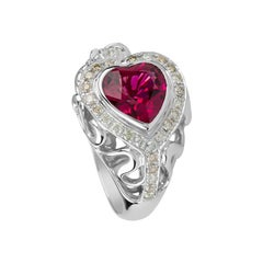 Zorab Creation Majestic Heart Rubellite and White Diamond Rapture Ring