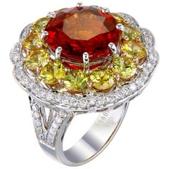 Zorab Creation-Merry-Go-Round 8.38 Carat Spessartite Garnet and Diamond Ring