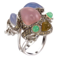 Zorab Creation Multicolored Chalcedony Hoppy the Frog Ring