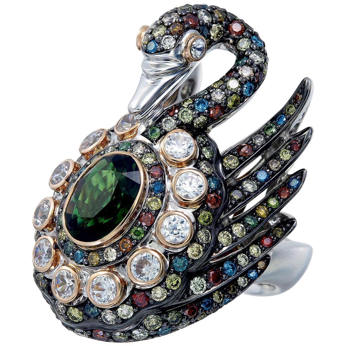 Zorab Creation Multicolored Diamond the Sparkling Swan Ring