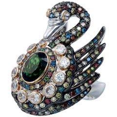 Zorab Creation Multicolored Diamond the Sparkling Swan Ring